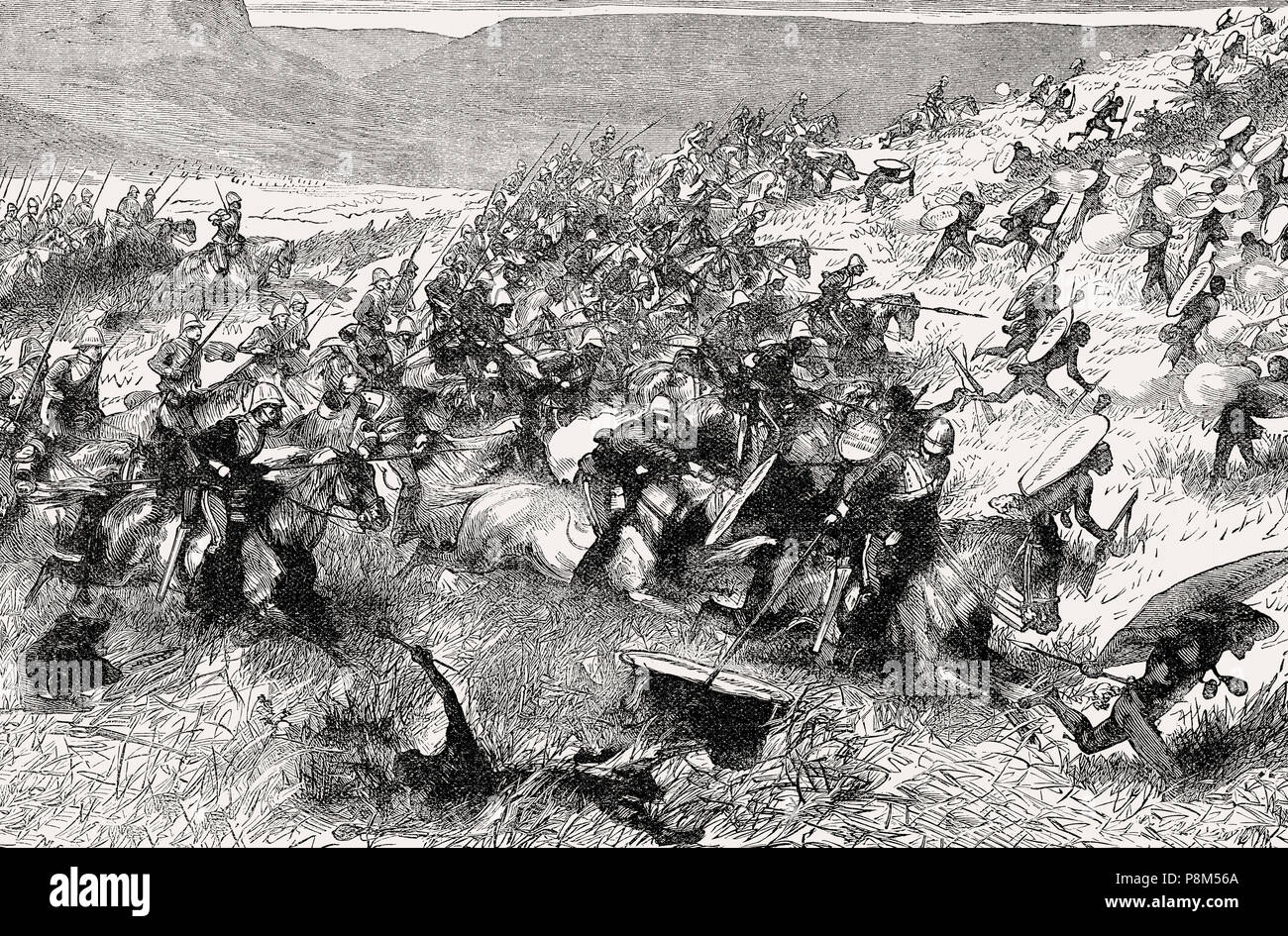 The 17th Lancers at the Battle of Ulundi on 4 July 1879, From British Battles on Land and Sea, by James Grant - Stock Image