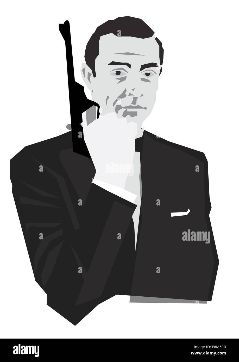 James Bond Character With Gun Stock Photo 211884859 Alamy