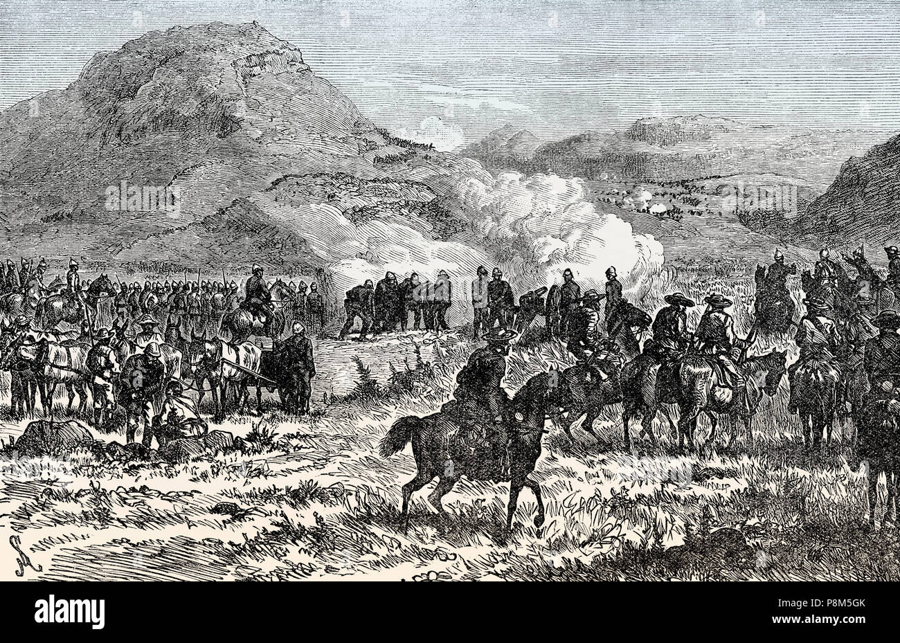 After the Battle of Laing's Nek on 28th January 1881, First Boer War, From British Battles on Land and Sea, by James Grant - Stock Image