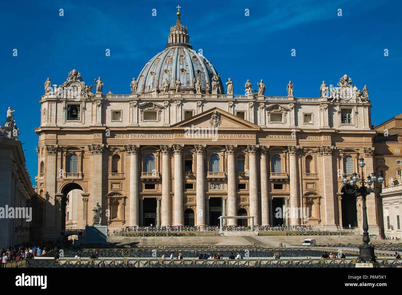 VATICAN CITY, VATICAN - OCTOBER 10, 2017: View of St. Peter's Basilica, Vatican City Stock Photo