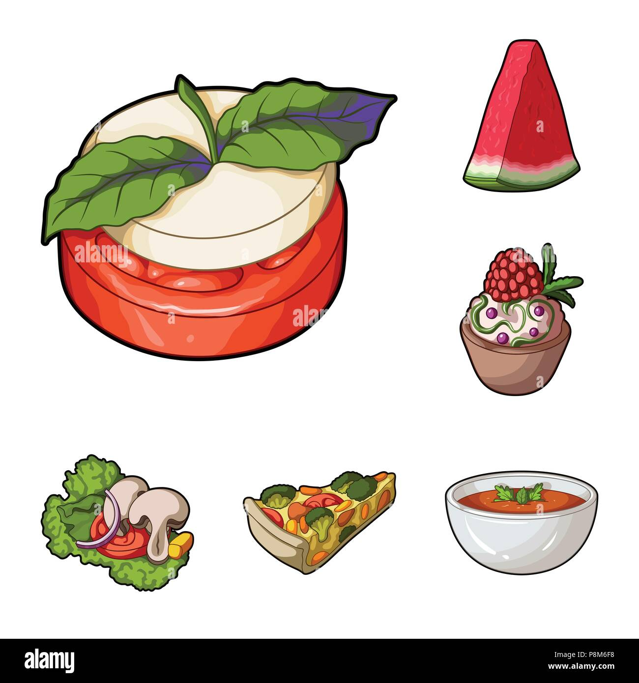 Vegetarian dish cartoon icons in set collection for design.Vegetable and milk food vector symbol stock  illustration. - Stock Vector