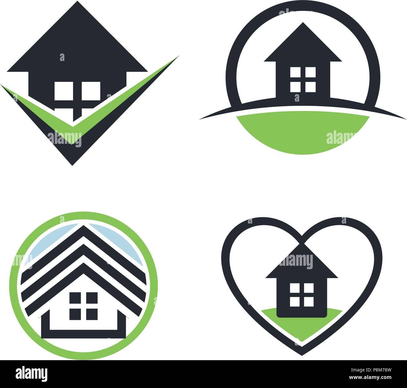 Real estate logo set.House rent icon. Sweet home collection. Heart icon.Estate sale logo. Round icon.Cosiness logo.Isolated vector.Graphic art. Building logo.Architectural construction logo.Tick icon. - Stock Image
