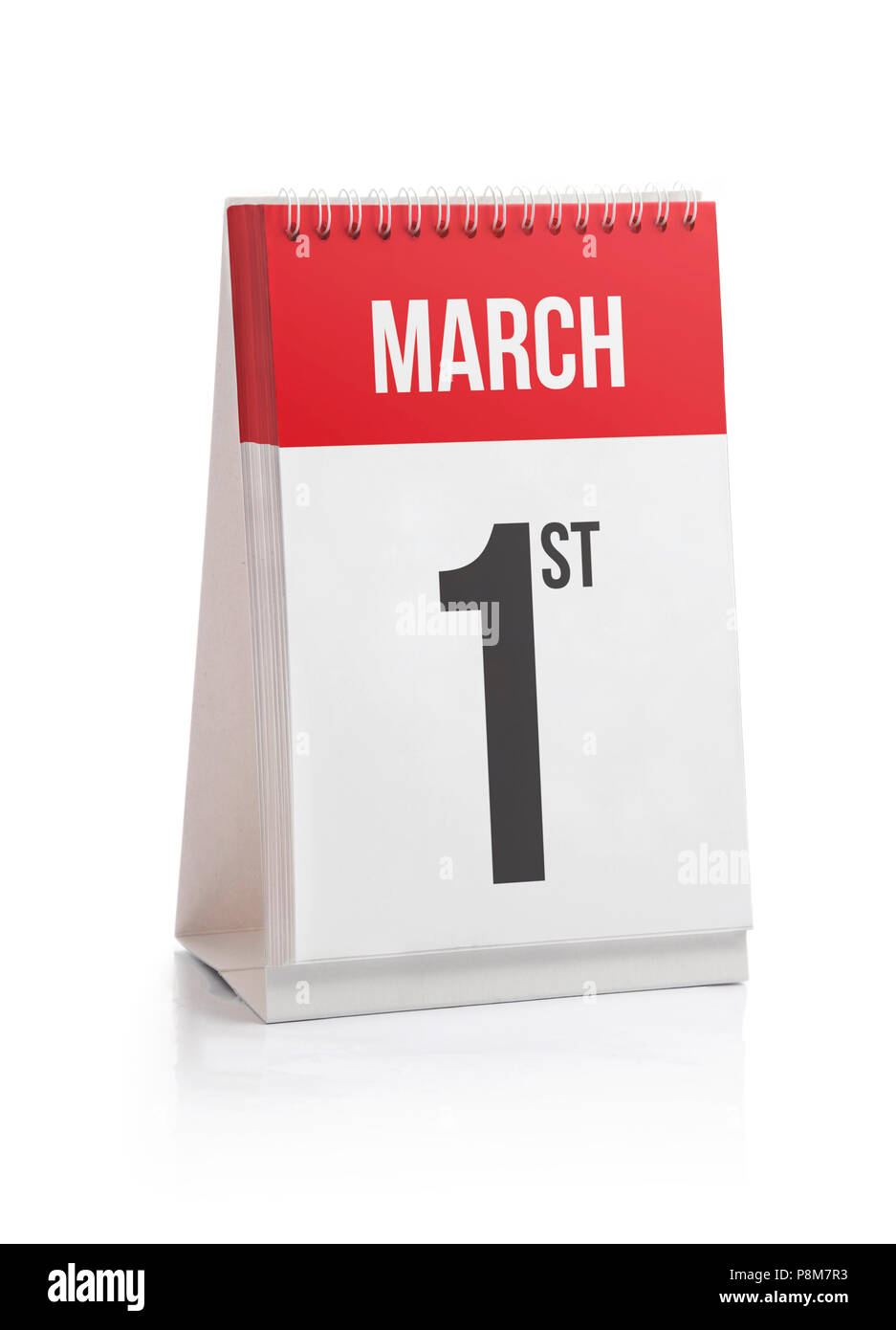 March Month Days Calendar, First Day Isolated on White - Stock Image