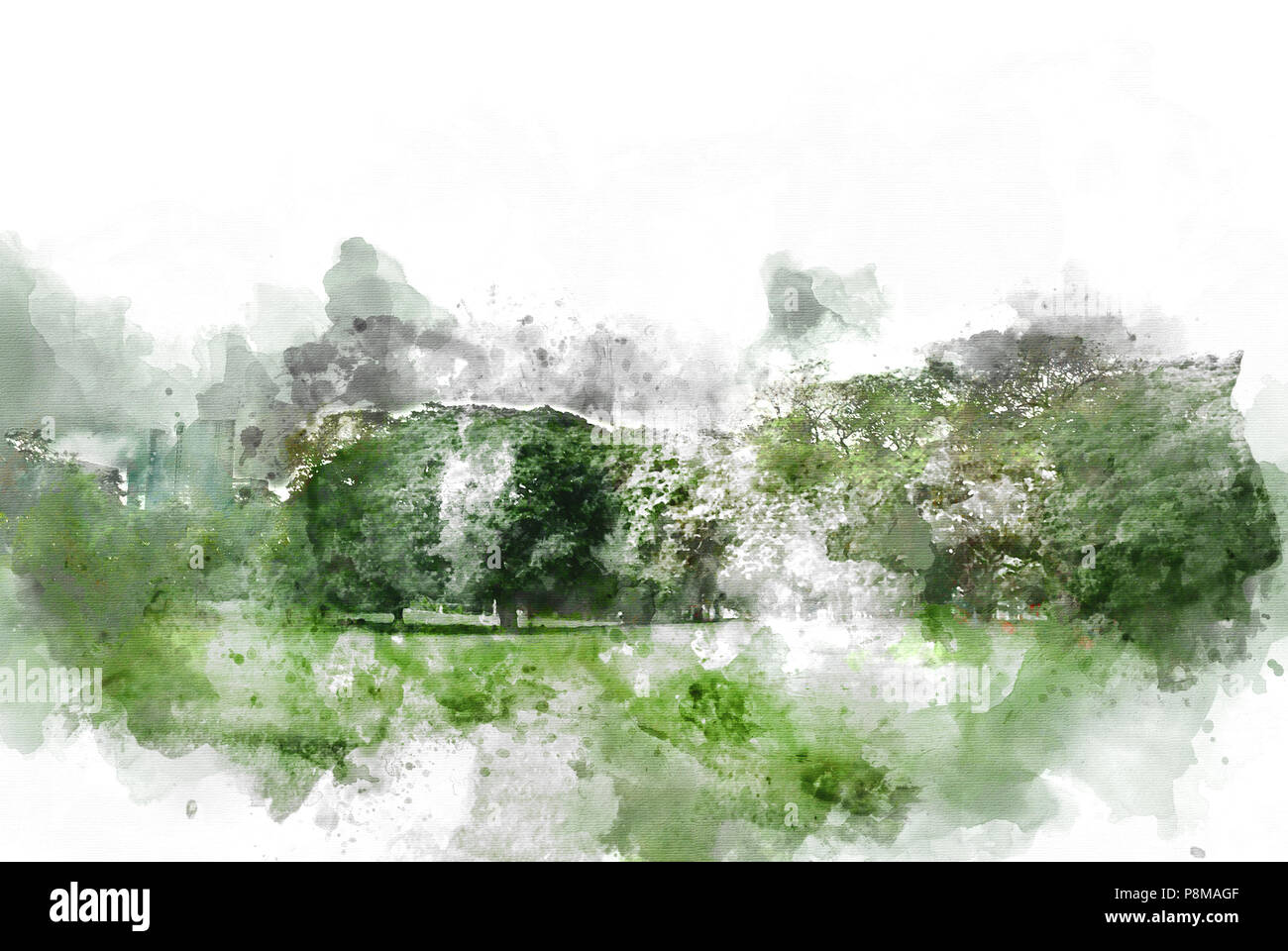 Abstract tree and field landscape on watercolor illustration painting background. - Stock Image