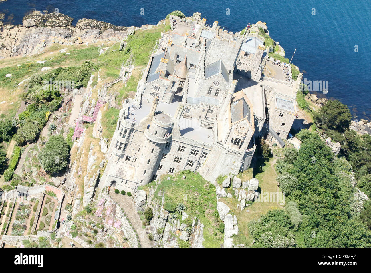 St Michael's Mount, Cornwall, close up, birds eye view. - Stock Image