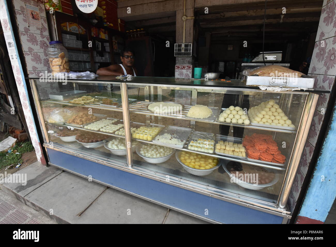 Shitala Mistanna Bhandar (A Bengali sweet house), Batai zero-point, Amta, Howrah, West Bengal, India - Stock Image