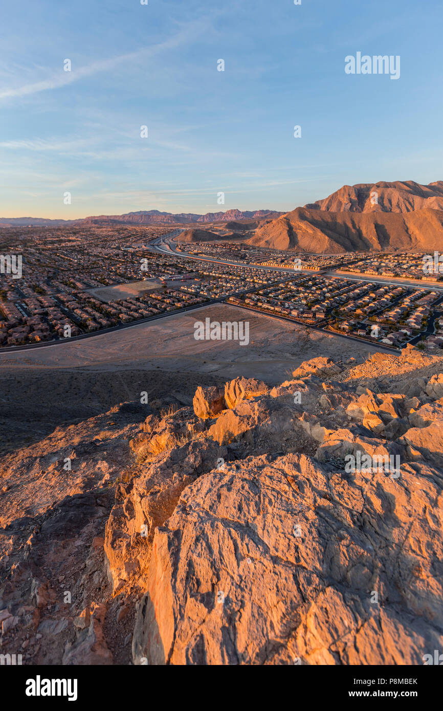 Early morning vertical view of northwest Las Vegas from the top of Lone Mountain in Clark County Nevada. Stock Photo