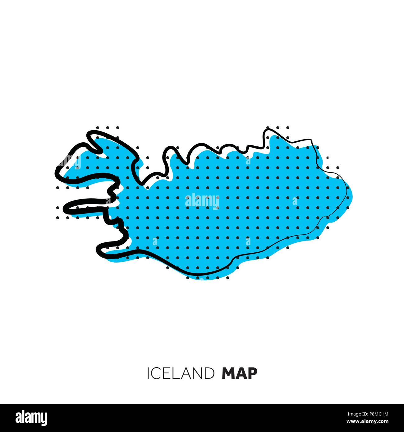 Iceland vector country map. Map outline with dots Stock Vector Art ...