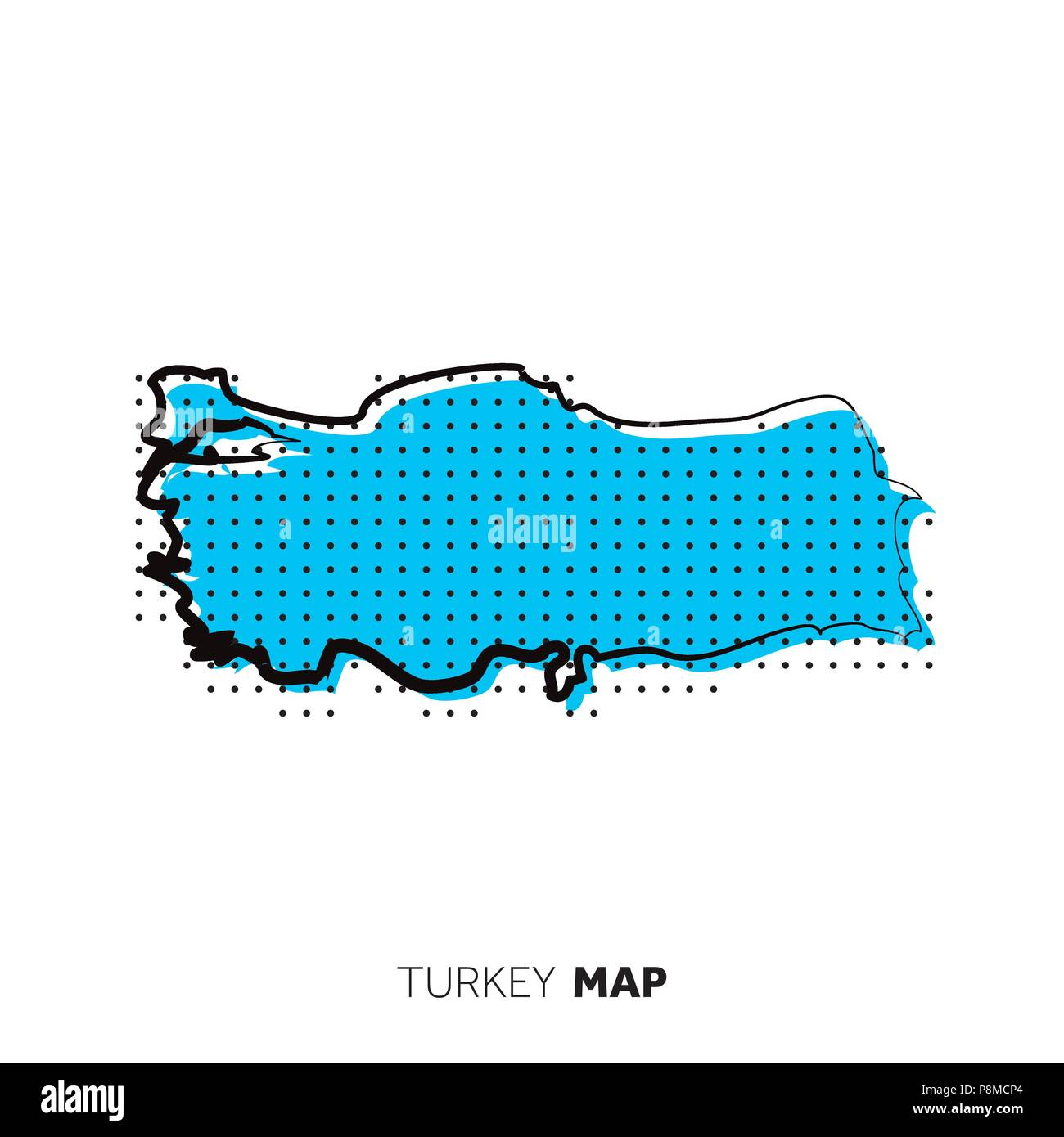 Turkey vector country map. Map outline with dots Stock Vector Art ...