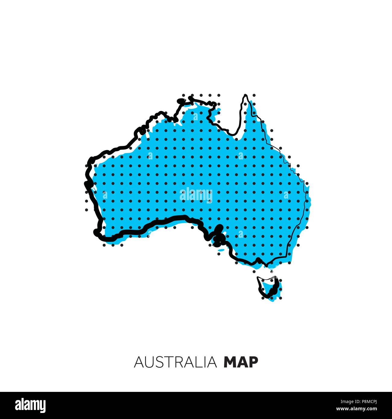 Australia Map Outline Vector.Australia Vector Country Map Map Outline With Dots Stock Vector Art