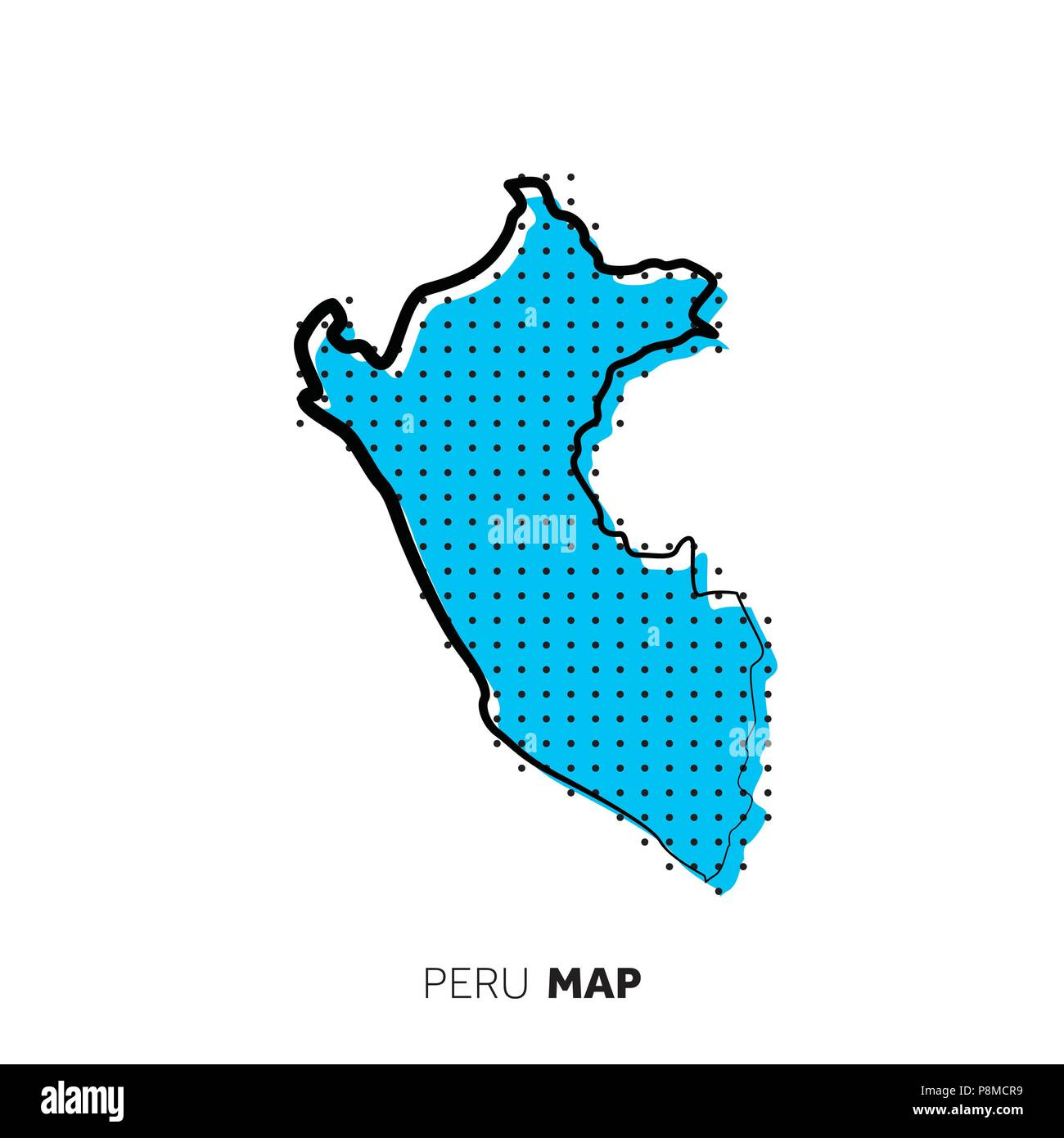 Peru vector country map. Map outline with dots Stock Vector Art ...