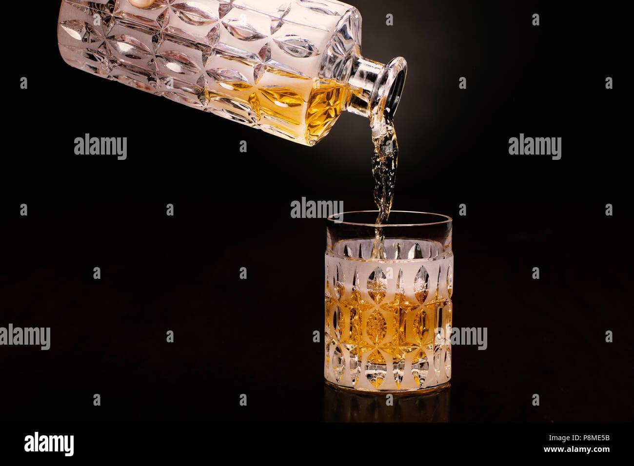 Whisky, Whiskey, Bottle, Handmodel - Stock Image