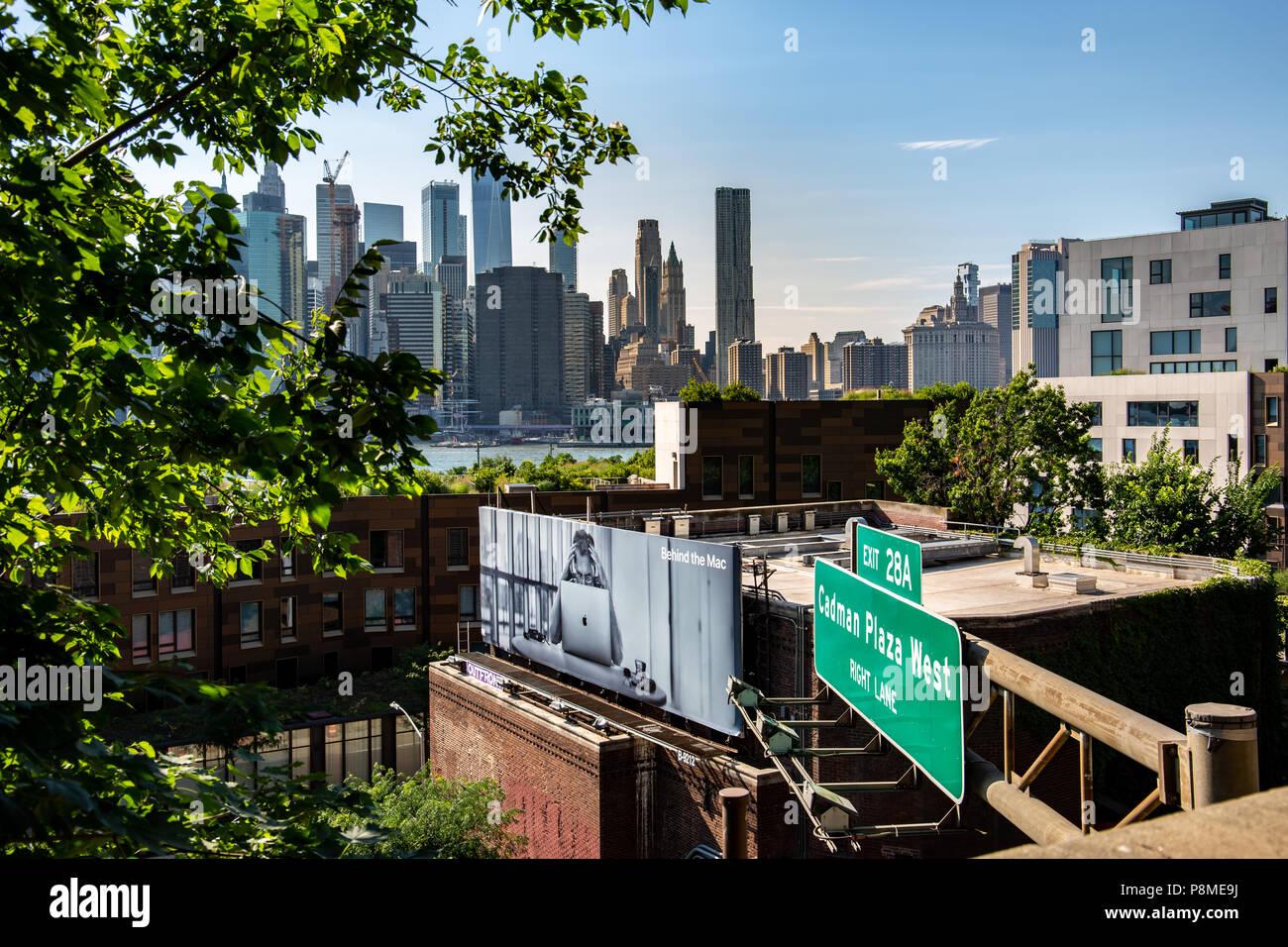 New York, City / USA - JUL 10 2018: Lower Manhattan skyline