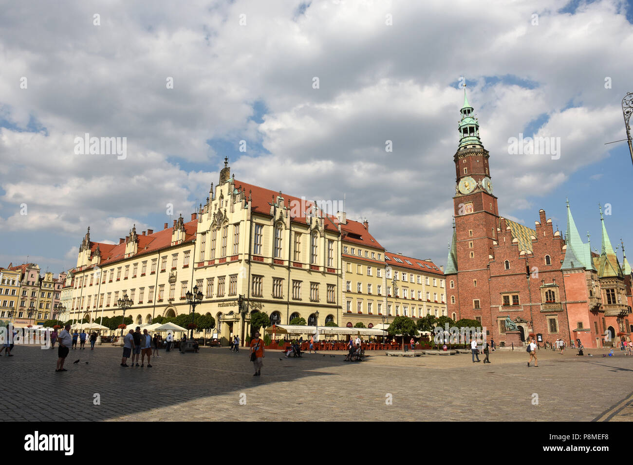 Market Square and old twon hall in the Old Town of Wroclaw, Silesia, Poland, Europe - Stock Image