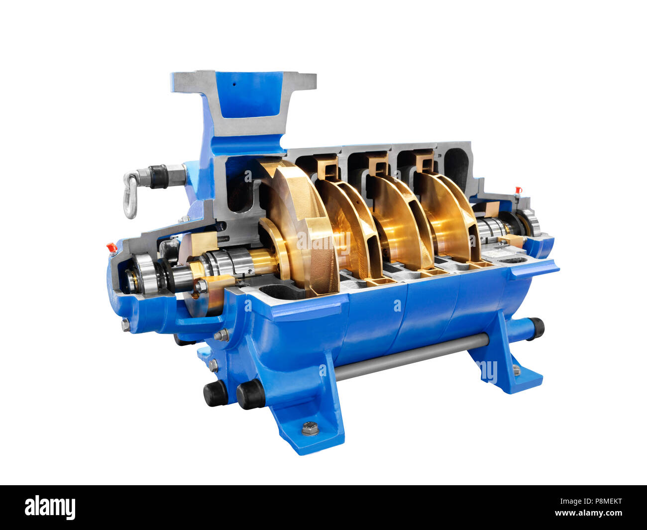 Multistage high pressure prepared pumpfor pumping of water, fuel, oil and oil products isolated on a white background. - Stock Image