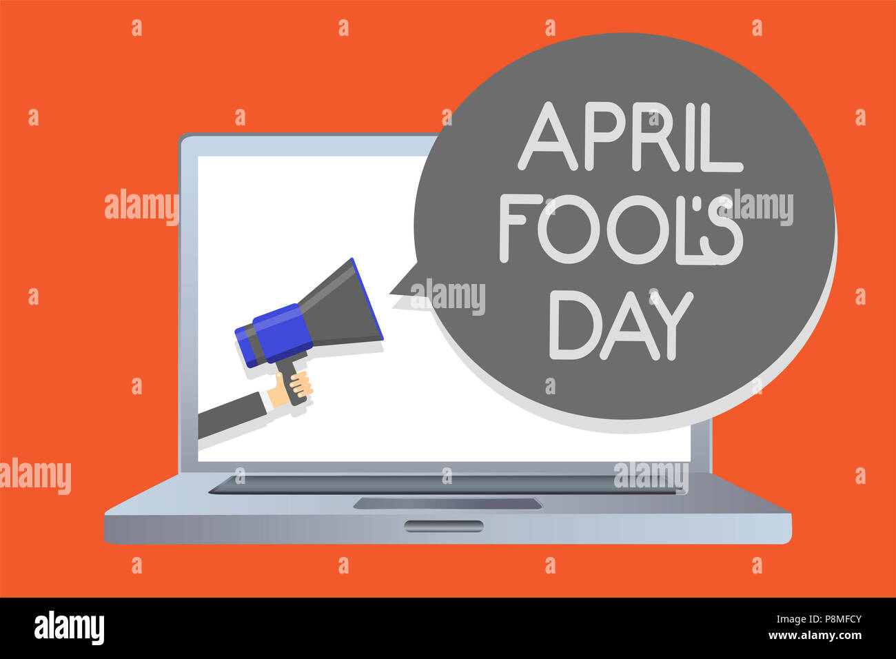 Writing note showing April Fool s is Day. Business photo showcasing Practical jokes humor pranks Celebration funny foolish Network message social medi - Stock Image