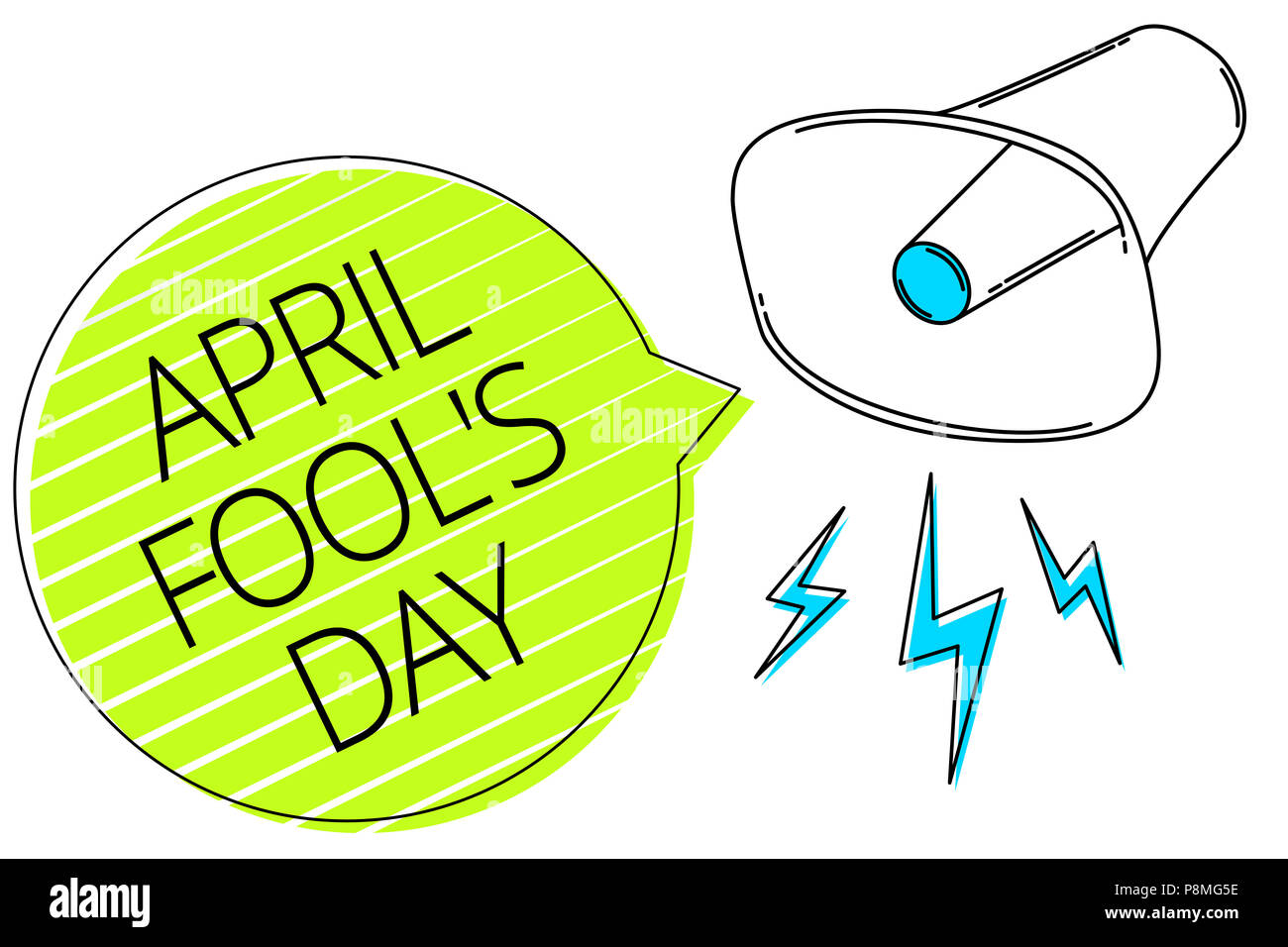 Writing note showing April Fool s is Day. Business photo showcasing Practical jokes humor pranks Celebration funny foolish Three lines text messages a - Stock Image