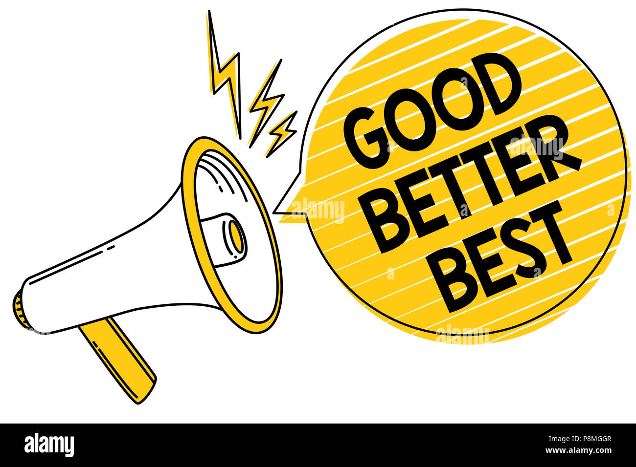 Handwriting text Good Better Best  Concept meaning Increase quality