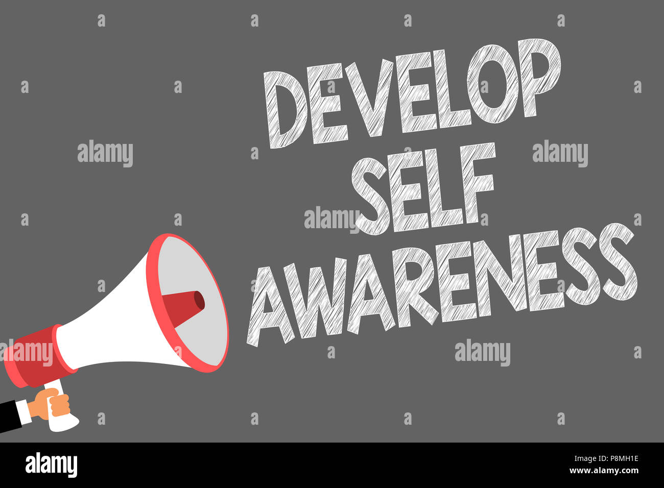 Text sign showing Develop Self Awareness. Conceptual photo increase conscious knowledge of own character Symbols speaker alarming warning sound indica - Stock Image