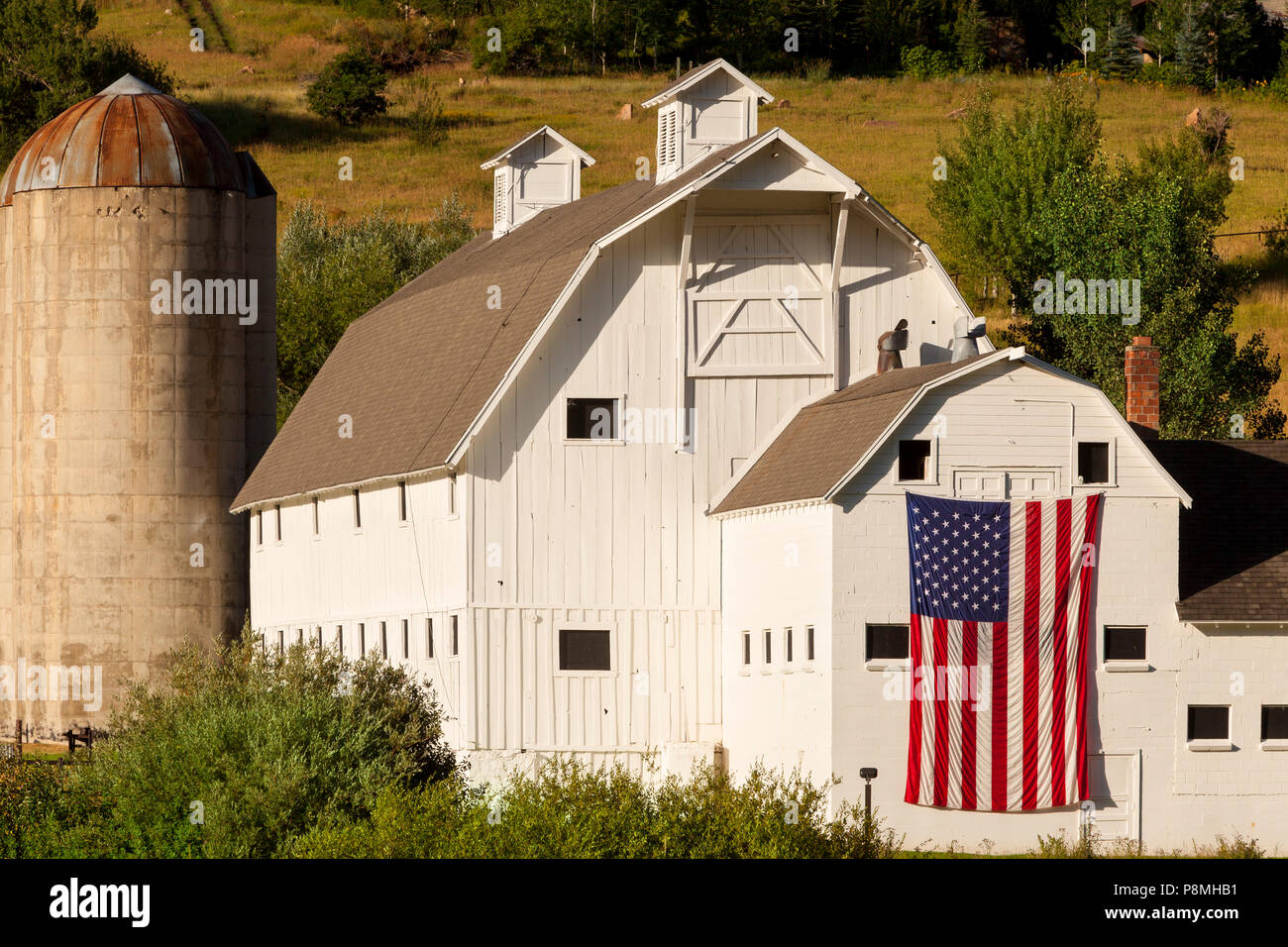 Early morning at the historic McPolin Farm aka Osguthorpe Farm in Park City, Utah, USA - Stock Image