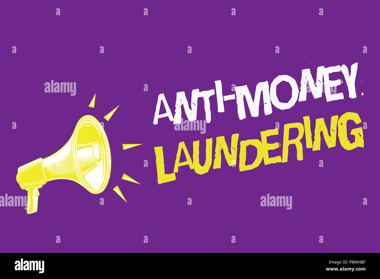 handwriting text anti money laundering concept meaning stop