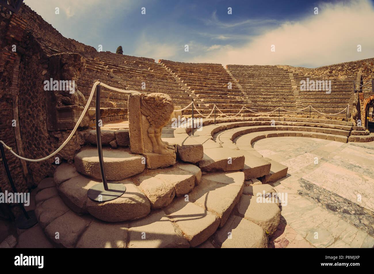 ancient odeion of Pompeii - Stock Image