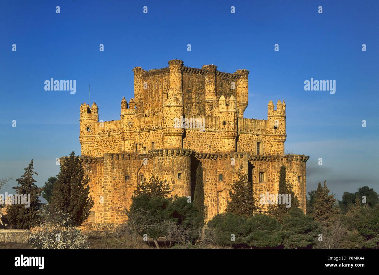 Castle of Lopez de Ayala family, counts of Fuensalida, in Guadamur, province of Toledo, Castile-La Mancha, Spain - Stock Image