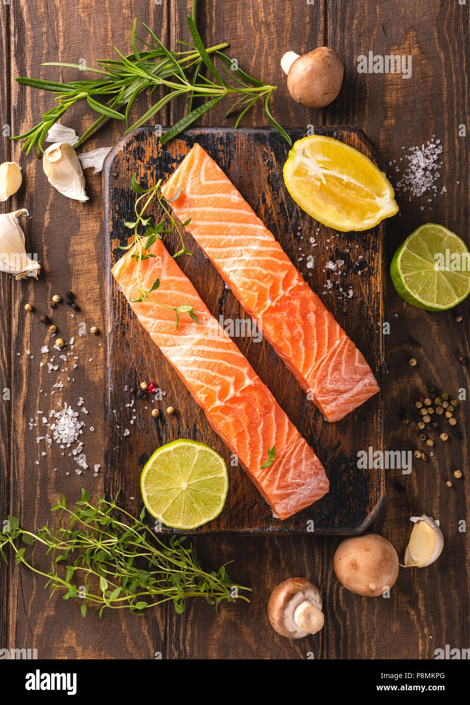 Fresh raw salmon fillet, flat lay - Stock Image