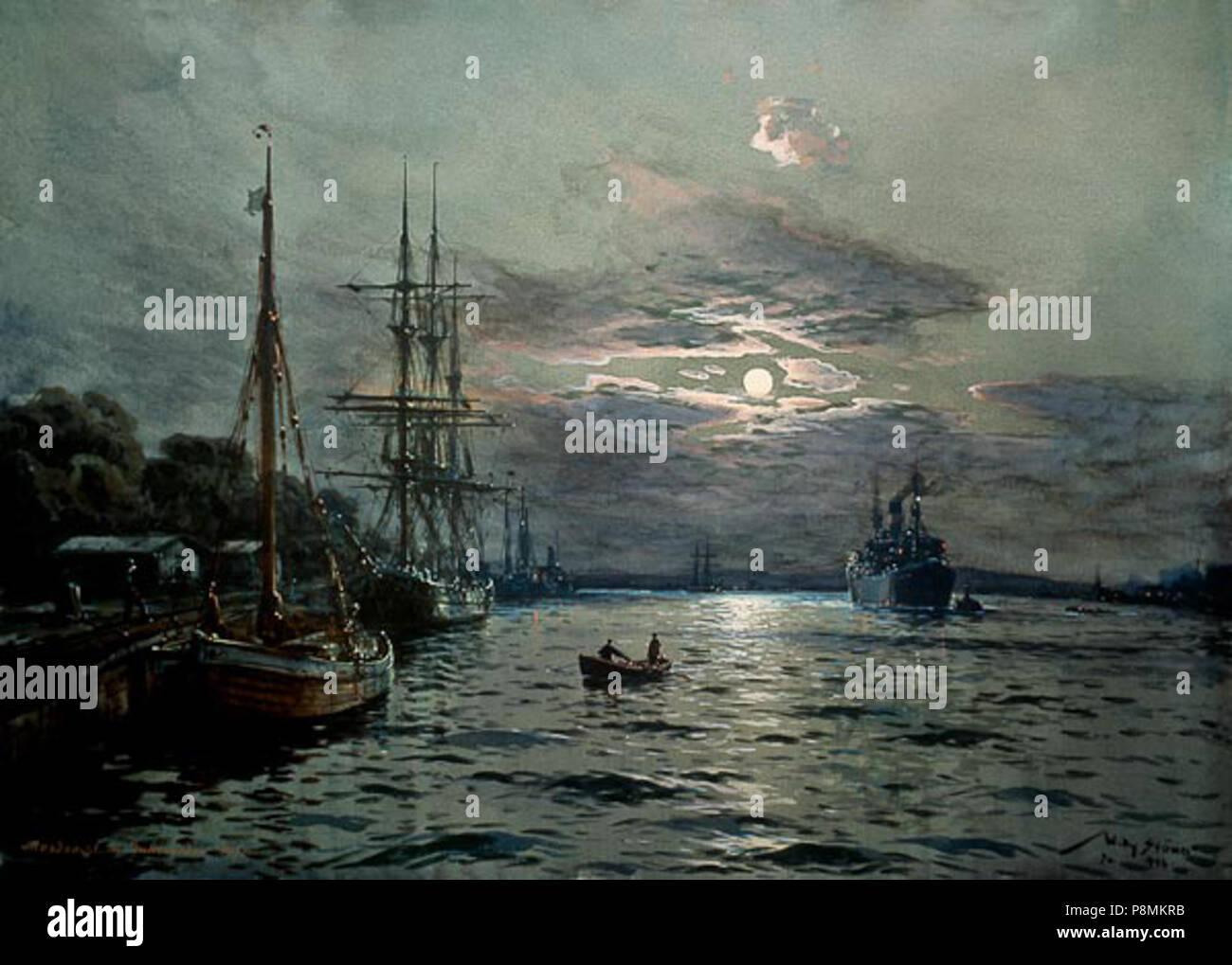 584 Willy Stöwer - Mondnacht im Hafen von Swinemünde Stock Photo