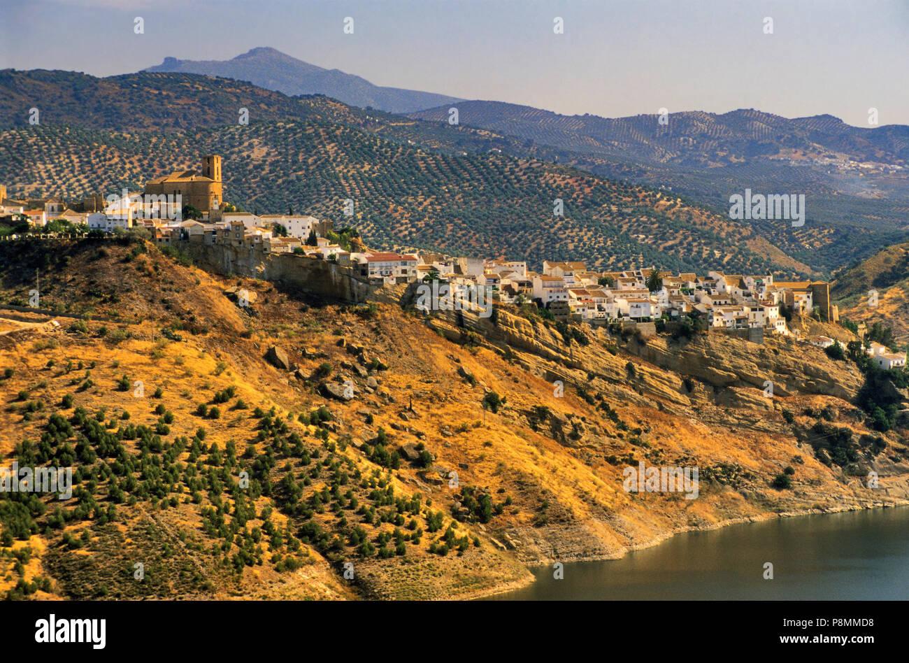General view of Iznajar, hilltown at Embalse de Iznajar, Andalucia, Spain - Stock Image