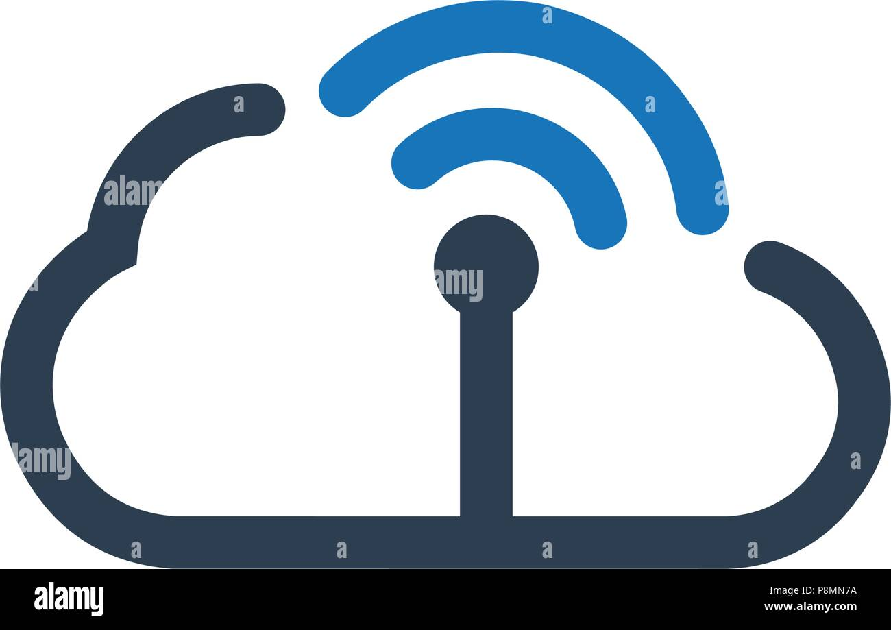 Cloud WiFi , Network Icon - Stock Image