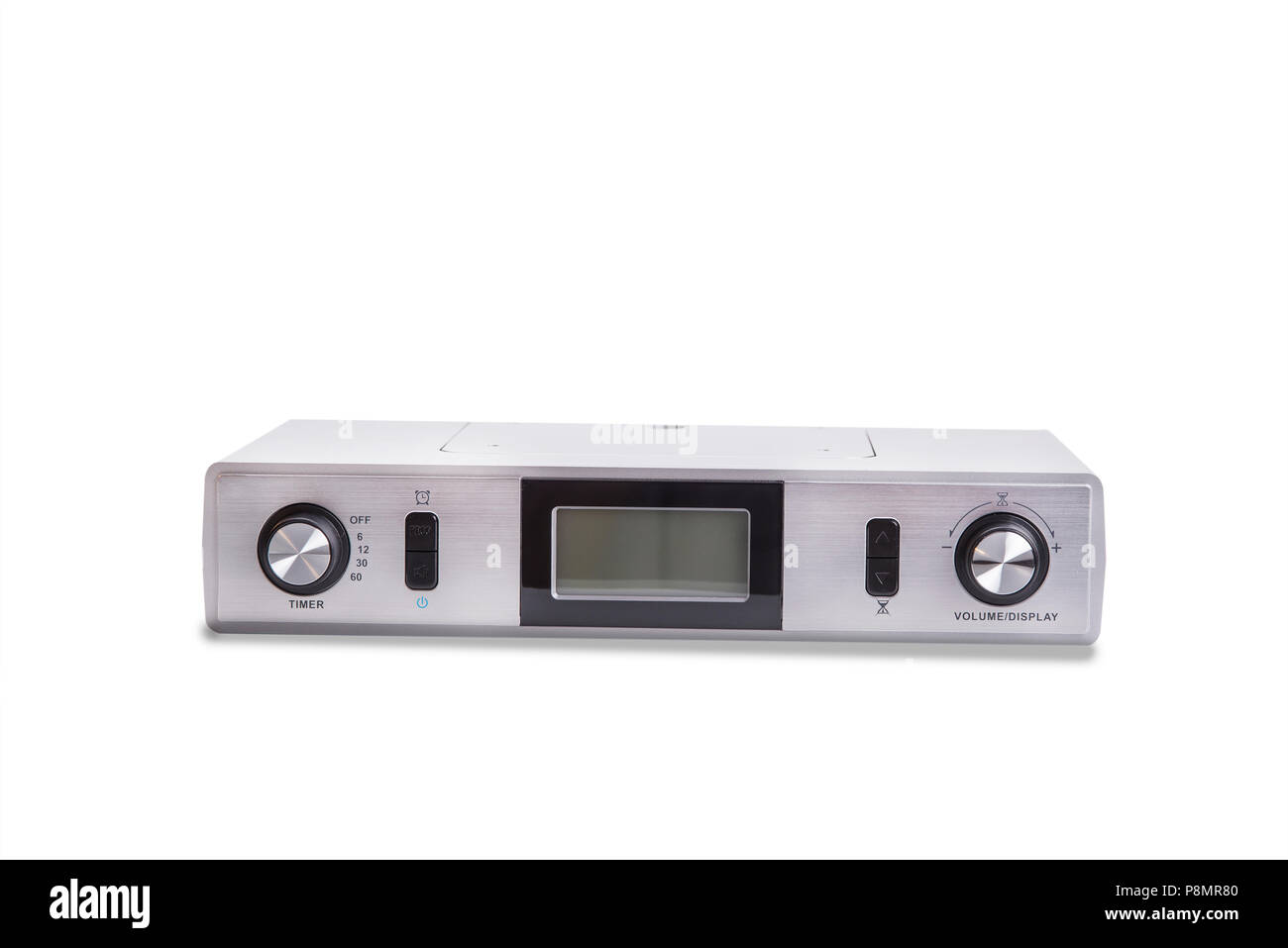 Kitchen radio to mount under cabinet on the white Stock Photo ... on antique pooley radio cabinet, kitchen cabinet radio cd player, radio cd under cabinet, microwave under cabinet,