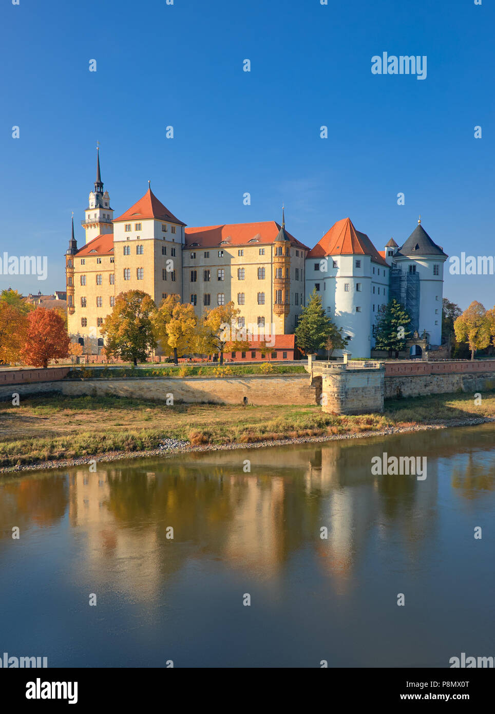 Hartenfels castle in Torgau, a town on the banks of the Elbe in northwestern Saxony, Germany Stock Photo