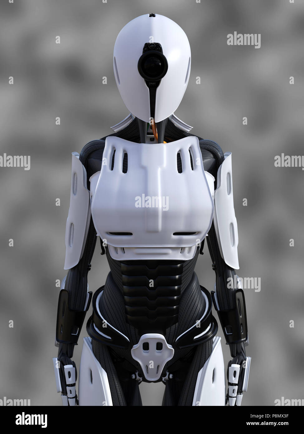 3D rendering of a female android robot standing against a gray background. - Stock Image