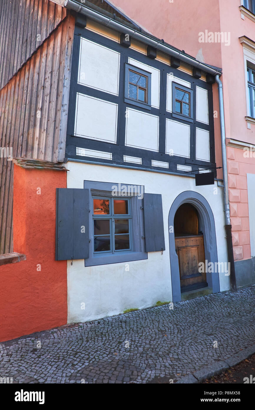 Historical timber house in Torgau, a town on the banks of the Elbe in northwestern Saxony, Germany Stock Photo