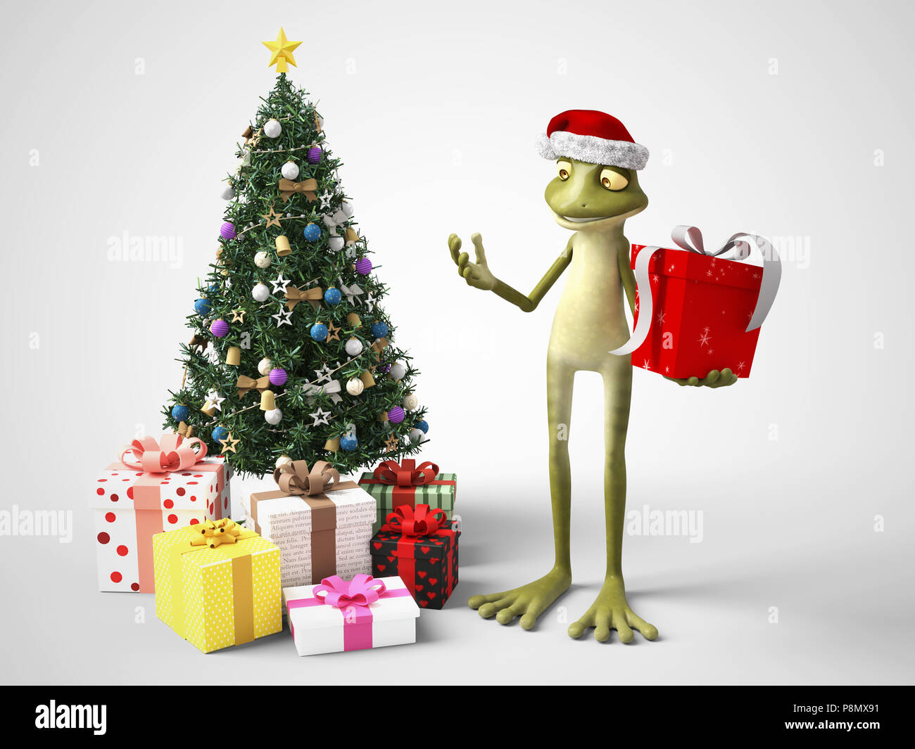 3D rendering of a smiling, cartoon frog wearing a Santa hat and ...