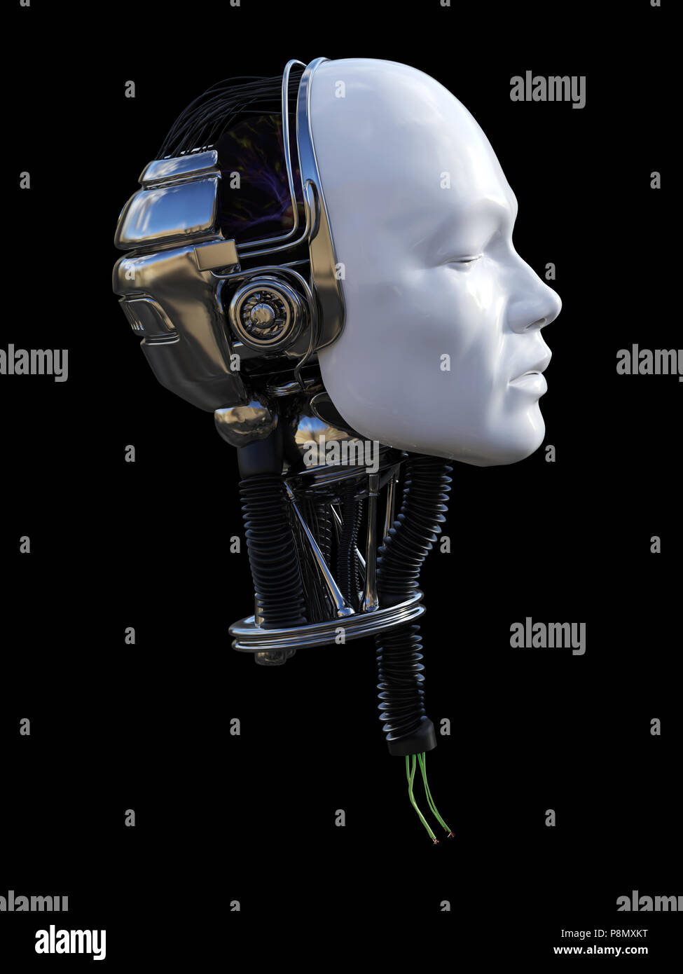 Robot With Wires In Neck Stock Photos & Robot With Wires In Neck ...