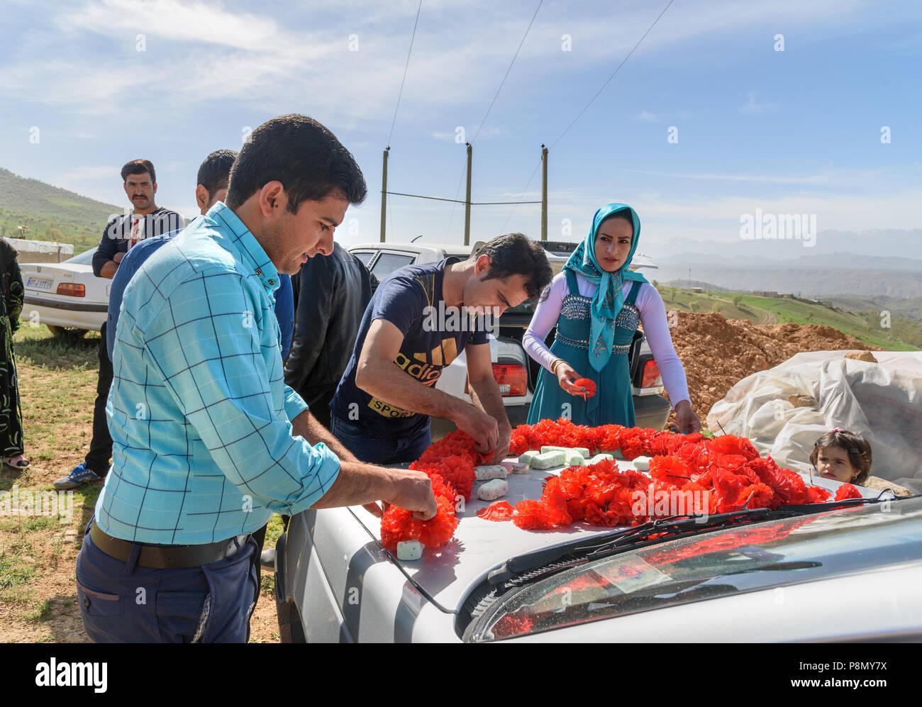 Lorestan Province Iran April 1 2018 Iranian People Decorate Car