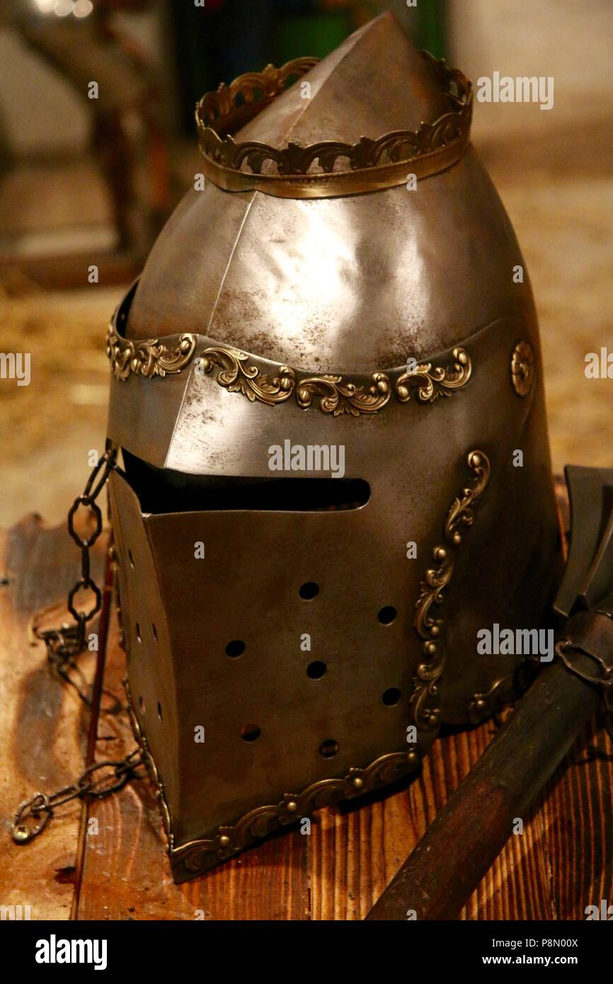 Full face medieval knights helmet with intricate metal work