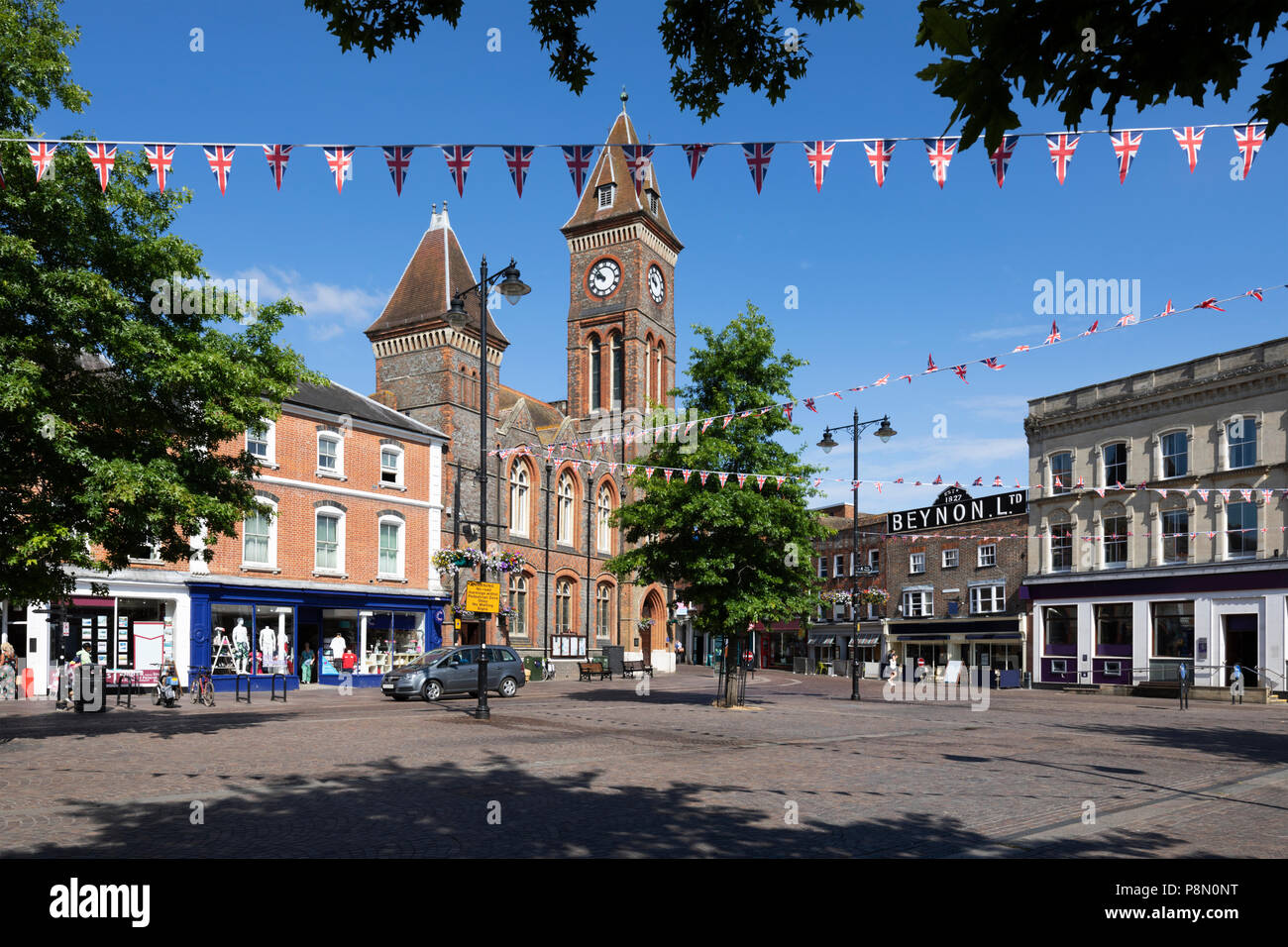 The Market Place and Newbury Town Council building, Newbury, West Berkshire, England, United Kingdom, Europe - Stock Image