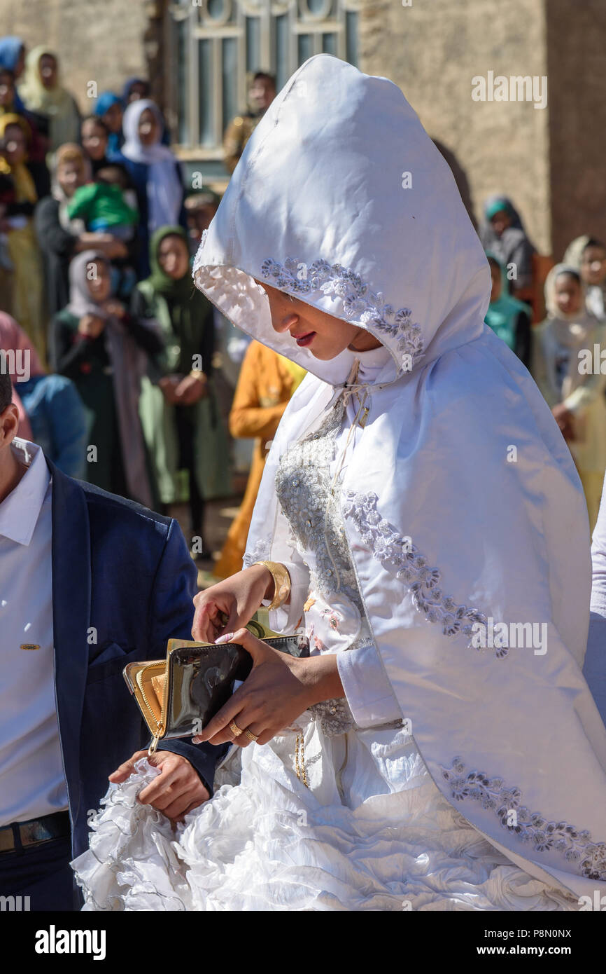 Lorestan Province, Iran - April 1, 2018: Lurish bride on wedding ceremony in the village. - Stock Image
