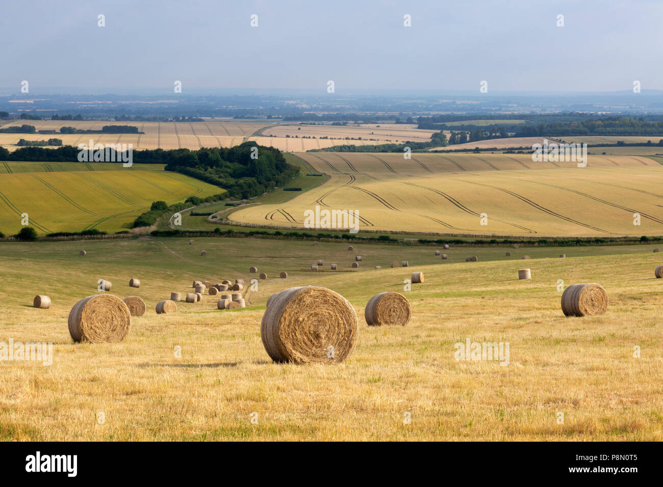 Round hay bales and views over farmland of Oxfordshire above the town of Wantage viewed from the Ridgeway trail, Oxfordshire, England, United Kingdom - Stock Image