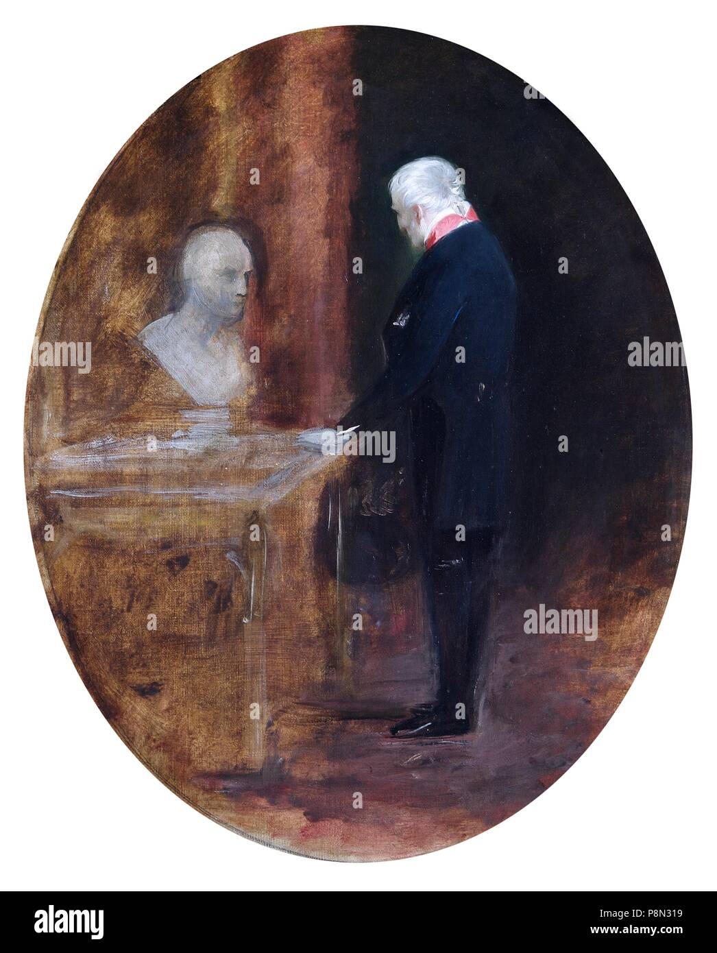 'The Duke of Wellington looking at bust of Napoleon', 19th century. Painting in Apsley House, London. - Stock Image