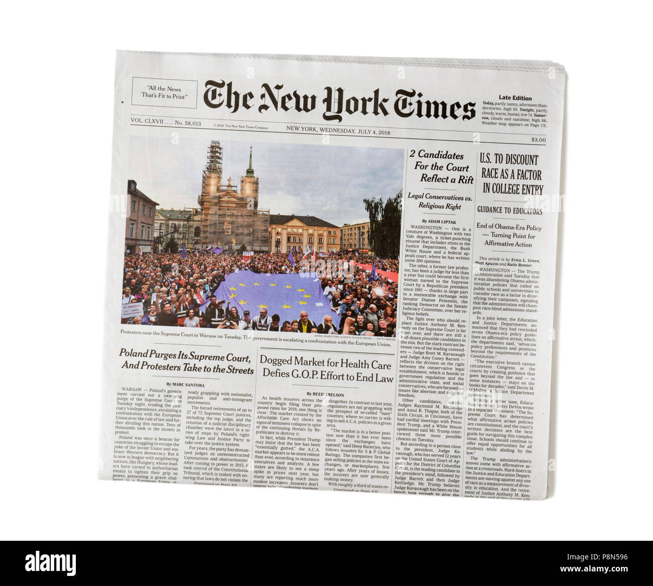 Newspaper NY Times - Stock Image