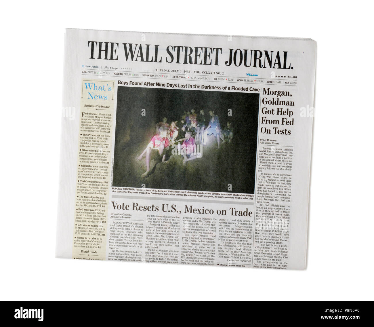 Newspaper, Wall Street Journal, front page, print edition - Stock Image