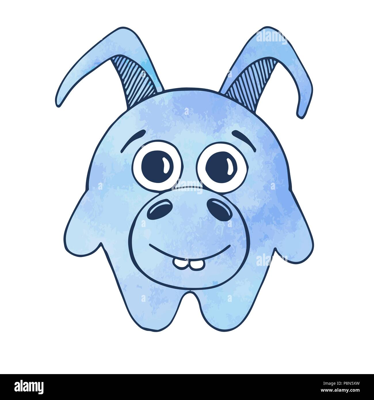 Cute cartoon donkey isolated on white background. Vector illustration in sketch style. Stylized watercolor. EPS 10 - Stock Image