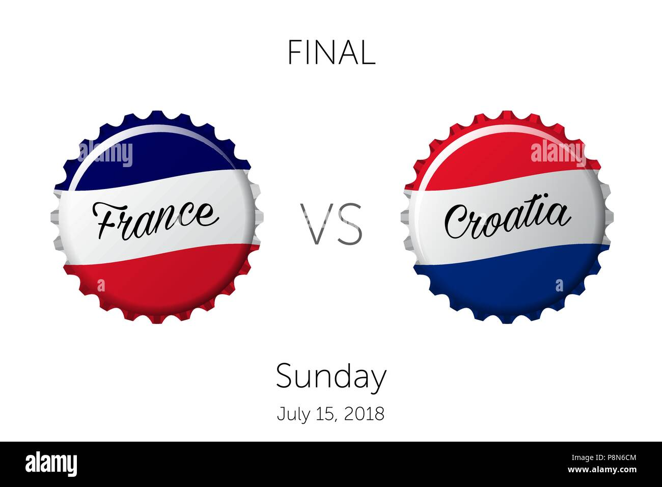 Soccer championship | Final - France VS Croatia - July 15, 2018 - Stock Vector