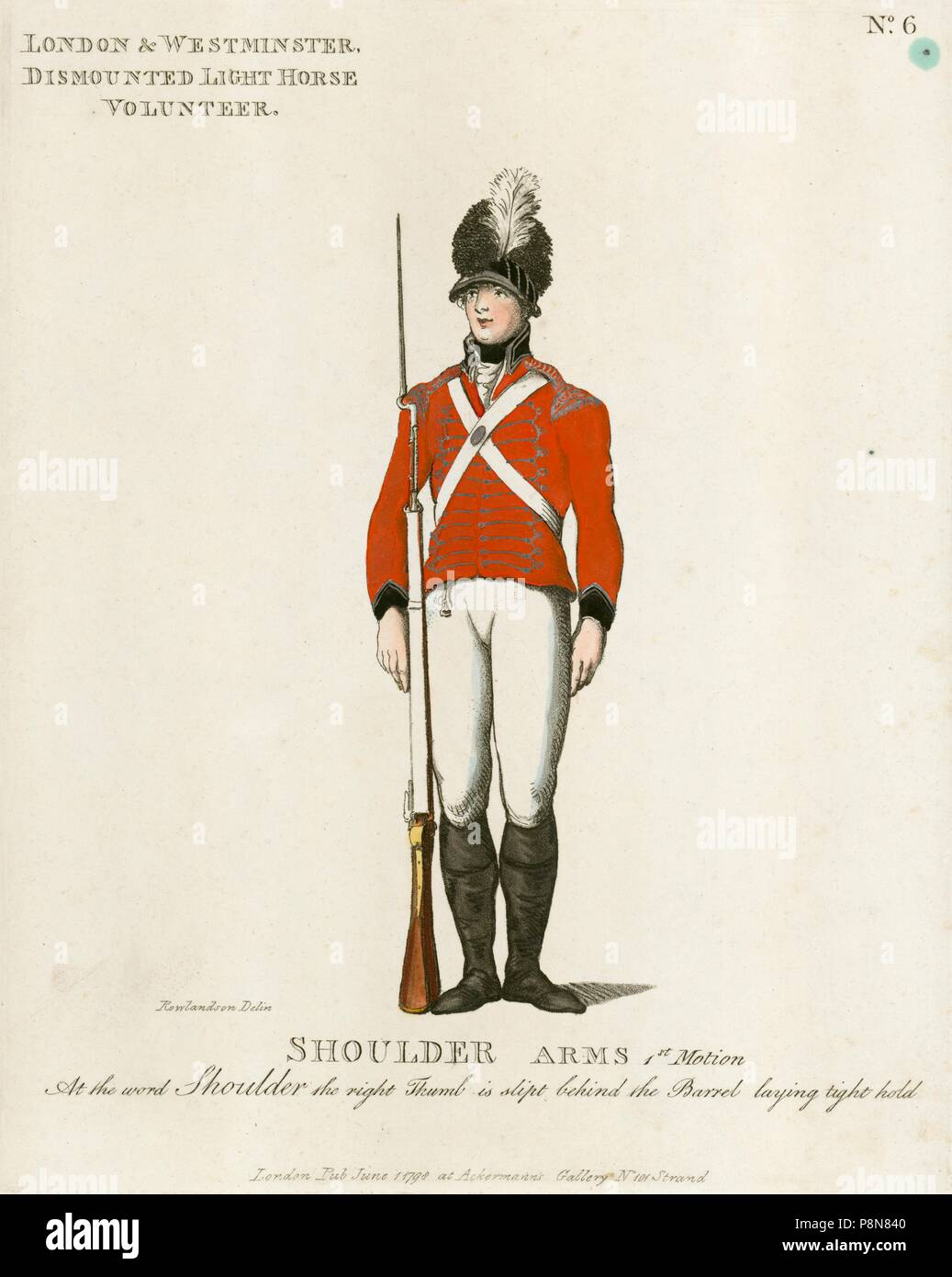 Dismounted volunteer of the London and Westminster Light Horse, 1798. Illustration from Loyal Volunteers of London 1798, a volume showing the uniforms - Stock Image