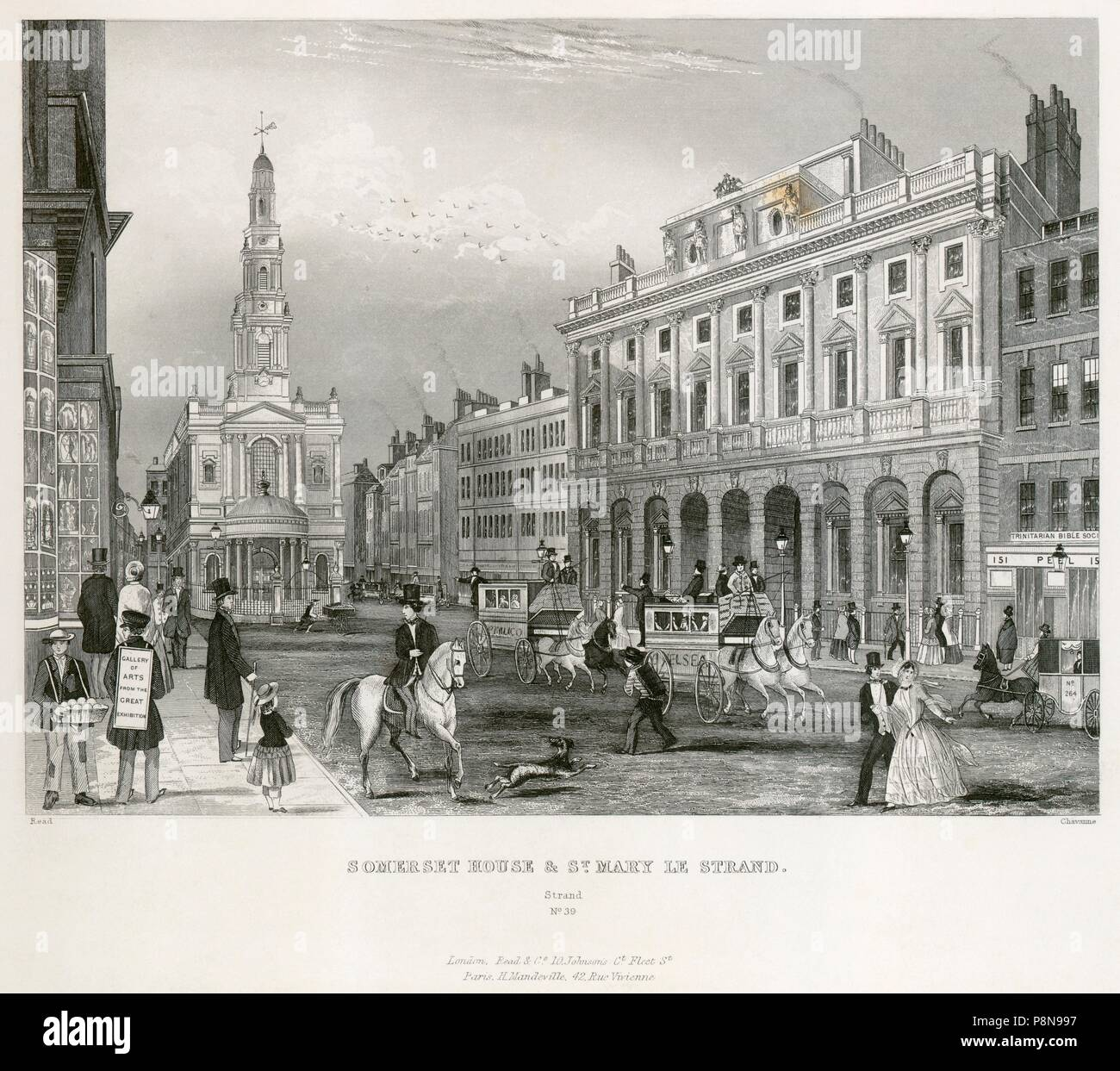 The Strand, Westminster, London, mid 19th century. View showing Somerset House and the Church of St Mary le Strand. From the Mayson Beeton Collection. - Stock Image