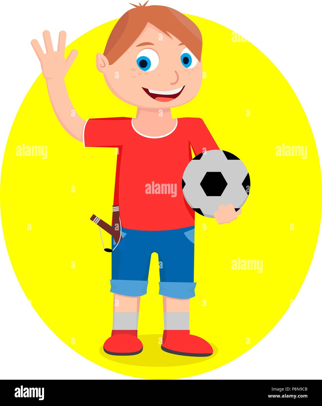 A boy in shorts and a T-shirt is holding a ball in his hand and greeting someone. - Stock Vector